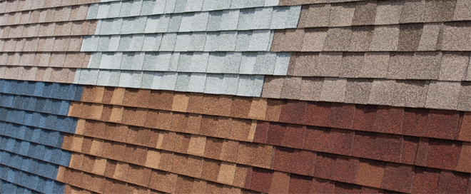 roofing shingles display board showing colours available